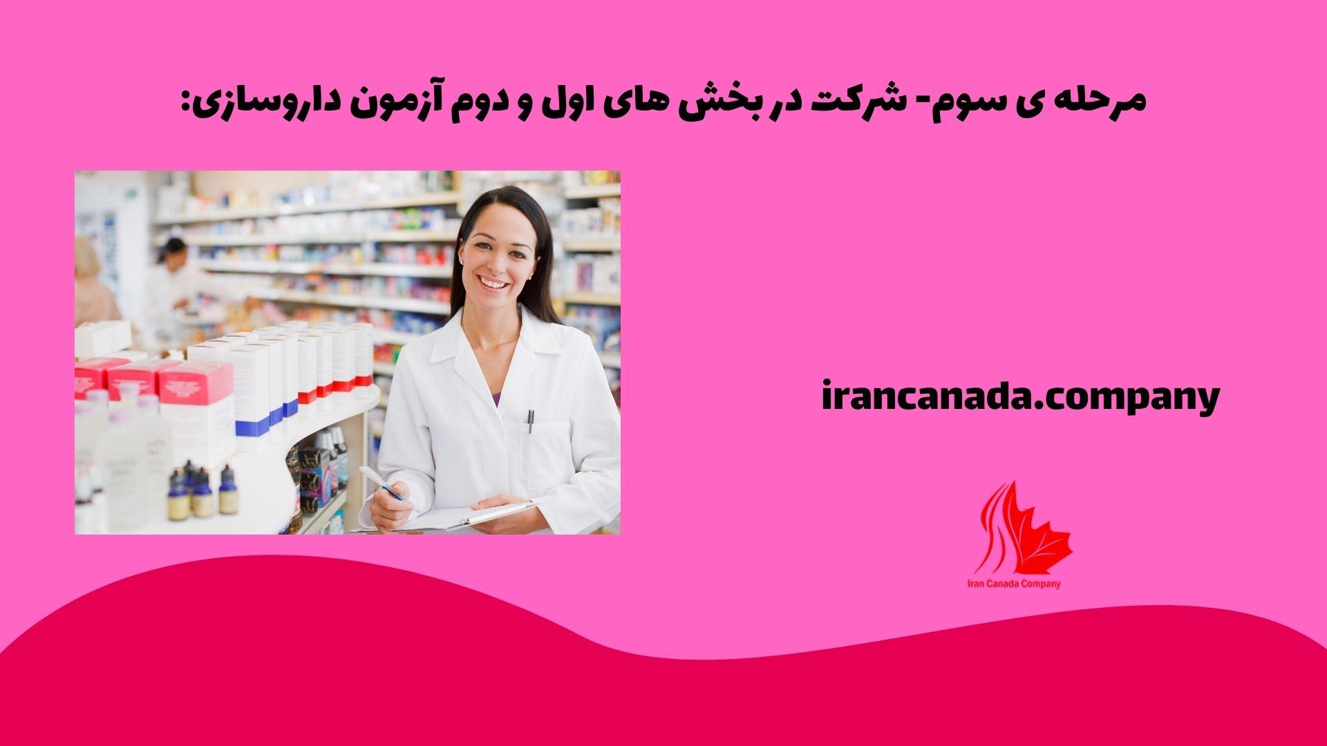 مرحله ی سوم: شرکت در بخش های اول و دوم آزمون داروسازی